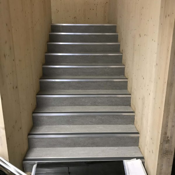 Communal staircase cleaned of dirt and polished