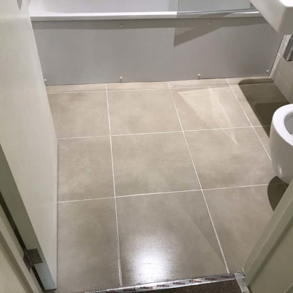 Tile floor polished
